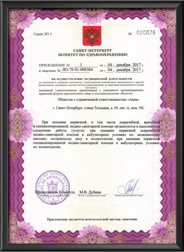 Лицензия на косметические услуги